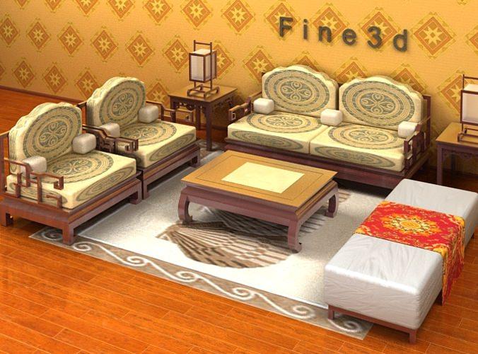 Seaside Furniture Set 3d Model Max Obj 3ds