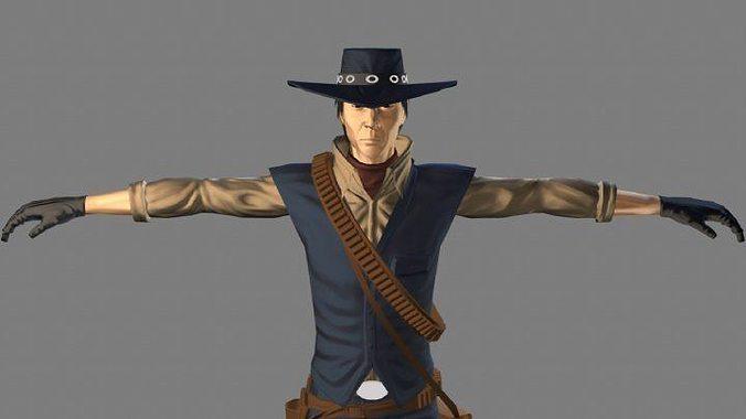 t pose not rigged cowboy ken ronan aaa 3d model low-poly obj mtl ma mb 1