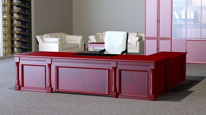 free office furniture. Classic Executive Veneer Desk With Office Furniture 3d Model Max Obj Mtl 1 Free