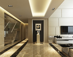 luxurious high ceiling house interior photoreal 3d