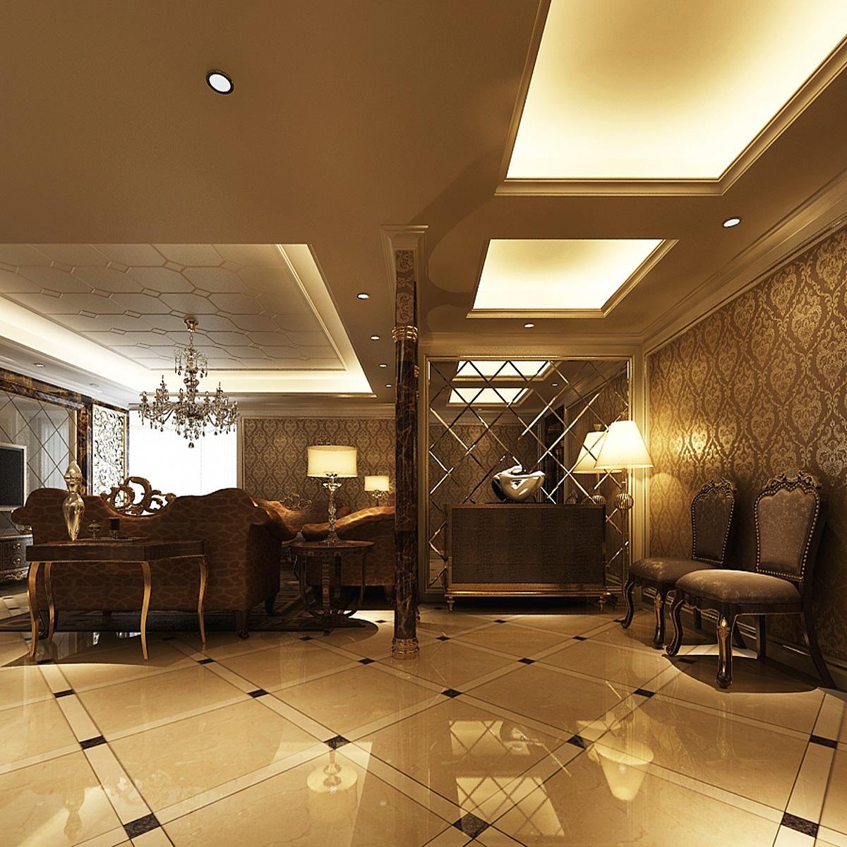 Golden interior photoreal flat 3d model max for Flat interior