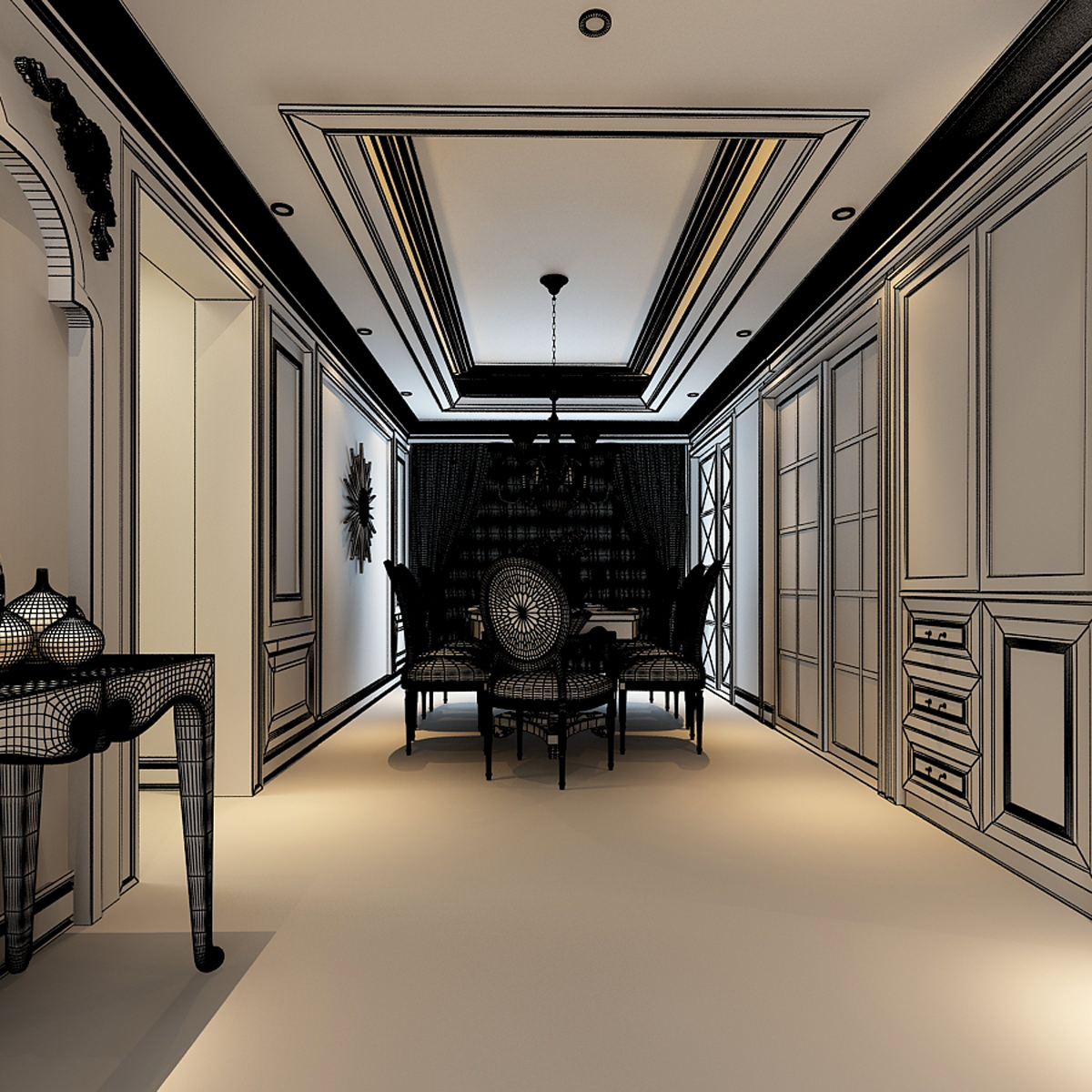 Luxurious american style house interior photoreal 3d model for 3d house interior