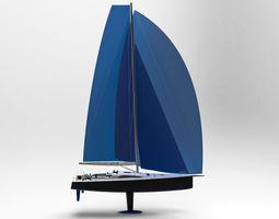 3d model sailing yacht 50 ft