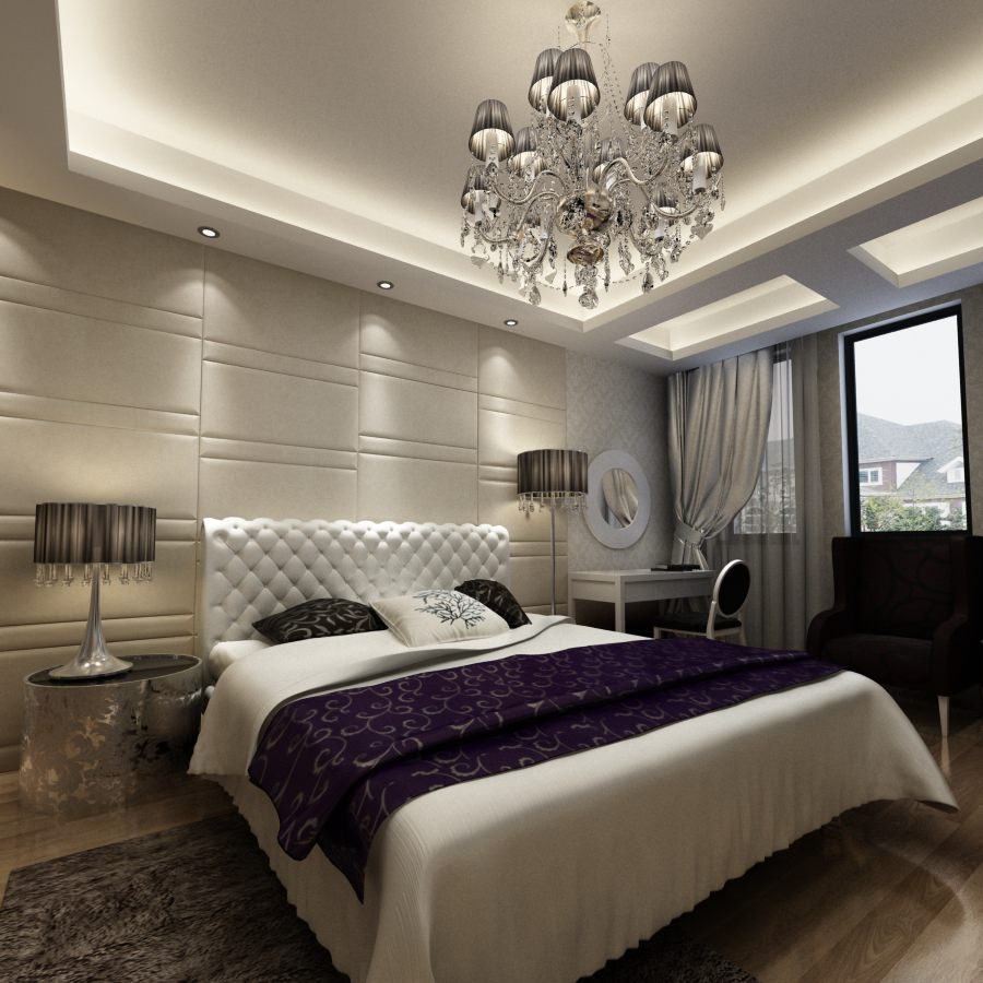 Comfortable luxurious bedroom photoreal 3d model max for Bedroom designs 3d model