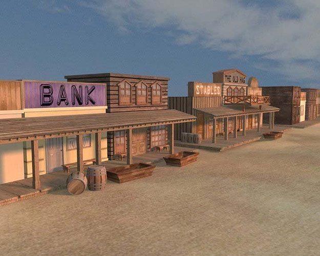 old west town aaa 3d model obj ma mb tga 1