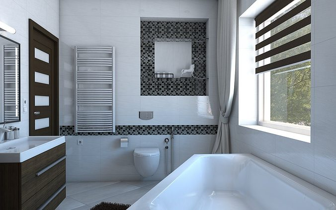 3D model Bathroom with angular bath | CGTrader on Model Bathroom  id=19037