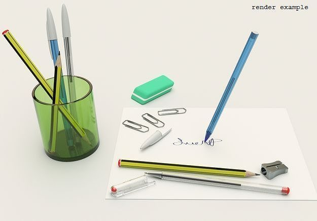 stationery collection 3d model 3ds skp 1