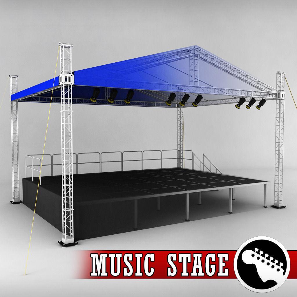 Music Stage Platform Scaffolding 3D Model MAX OBJ 3DS FBX