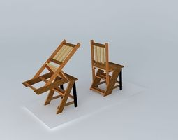 turn chair turned, saw ladder 3d