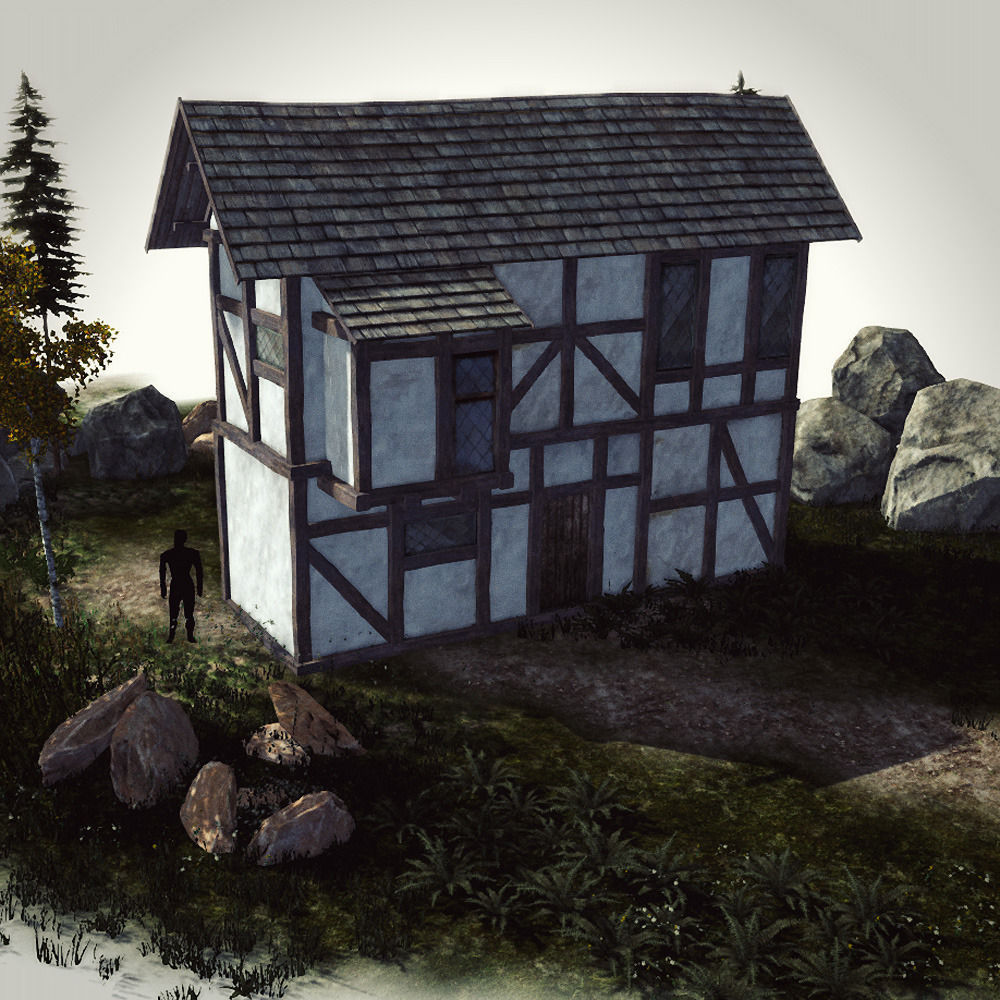 High Quality Medieval House   Building F 3d Model Low Poly Max Obj 3ds Fbx  ...