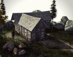PBR 3d model high quality medieval house - building i realtime