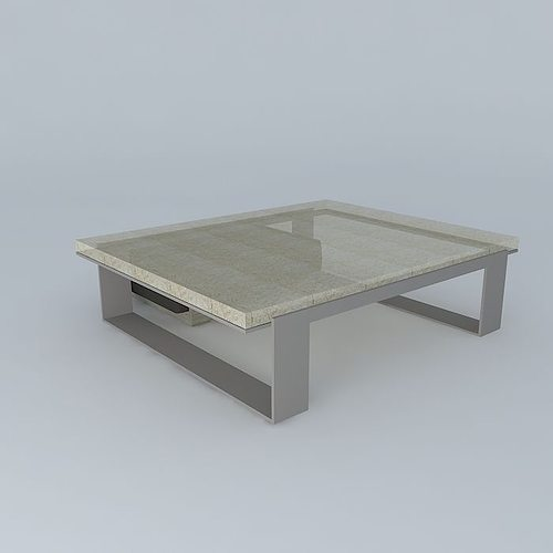 Cast Glass Sled Coffee Table With Leather And Wood Block Ottoman 3d Model Max Obj 3ds Fbx Stl Dae