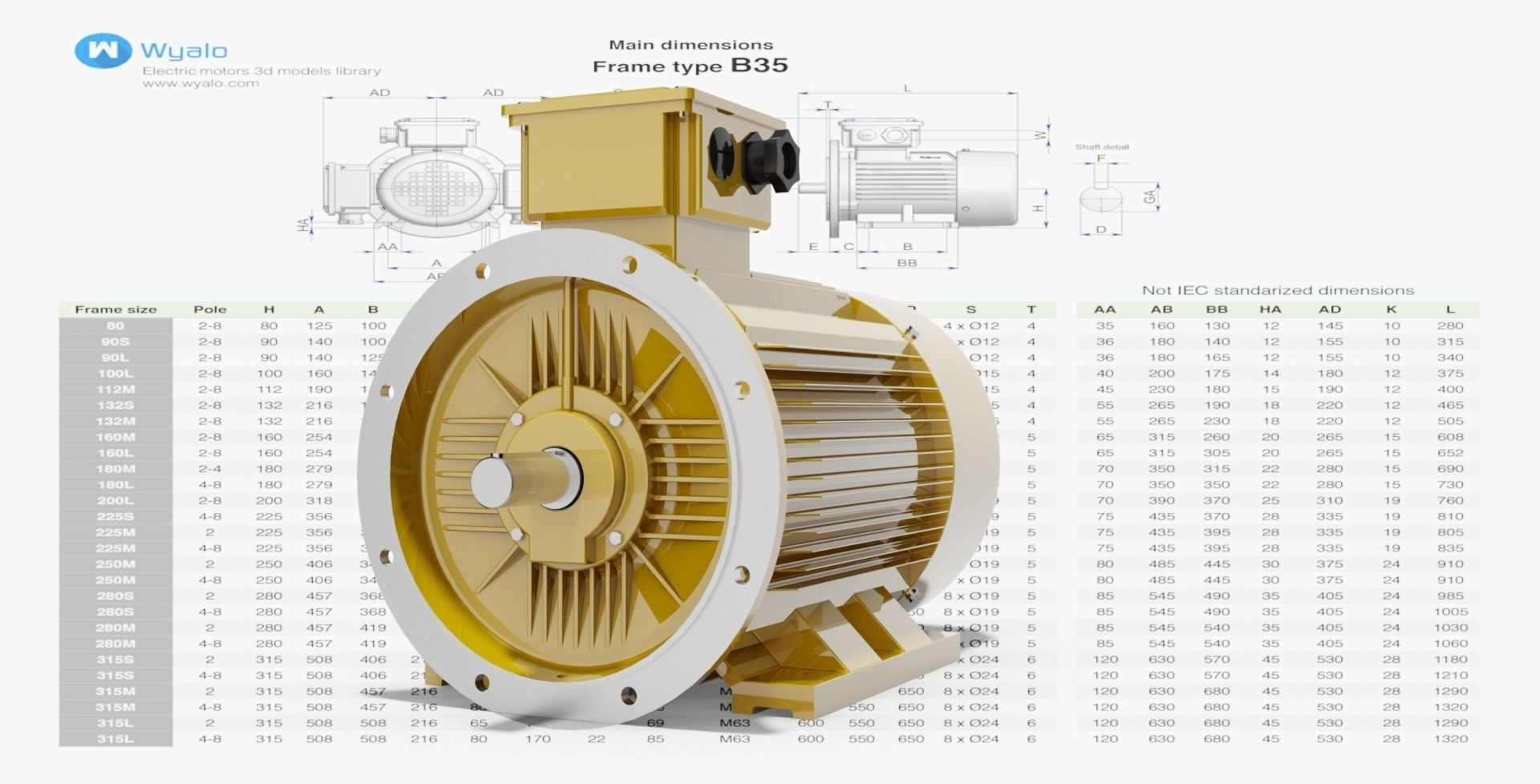 72 cad models electric motors iec b35 3d model dwg ipt Cad models