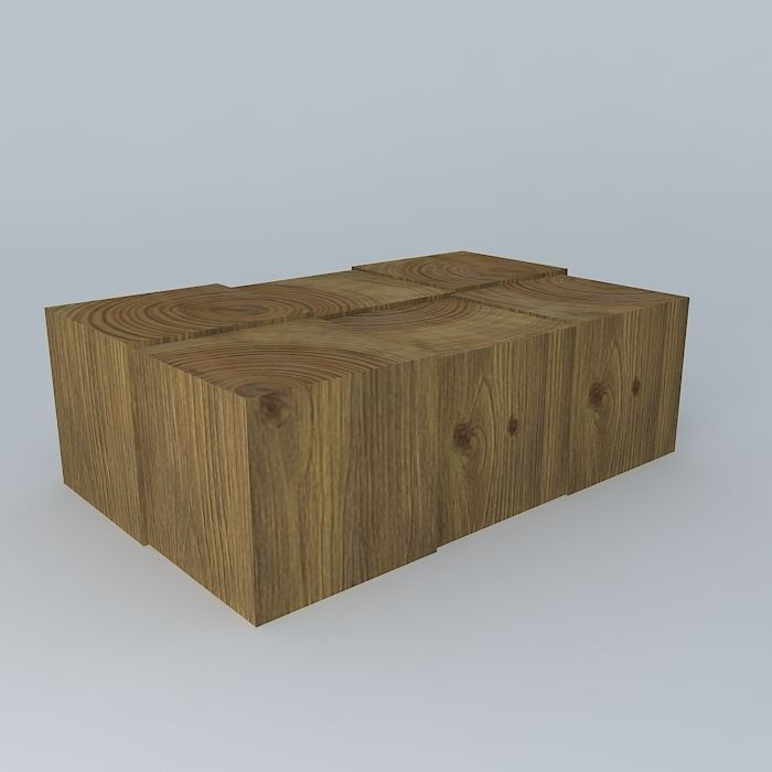 wood block coffee table 3d model max obj 3ds fbx stl dae 1 ... - Wood Block Coffee Table 3D Model MAX OBJ 3DS FBX STL DAE
