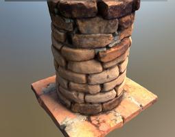 scanned brick pillar 3d asset low-poly