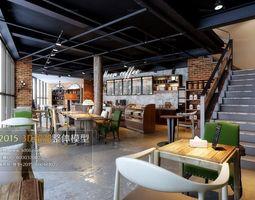 Trendy hotel teahouse Cafe 51 3D Model