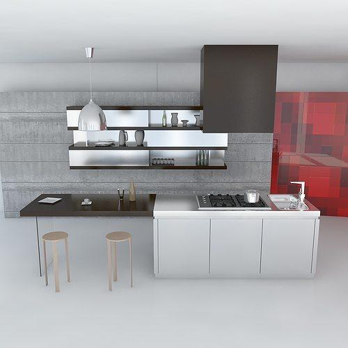 Kitchen minimal scene 3d model max obj 3ds fbx for Kitchen set 3ds max