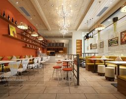 Trendy hotel teahouse Cafe 18 3D Model