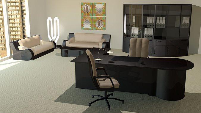 modern office furniture 3d model max obj fbx mtl 1