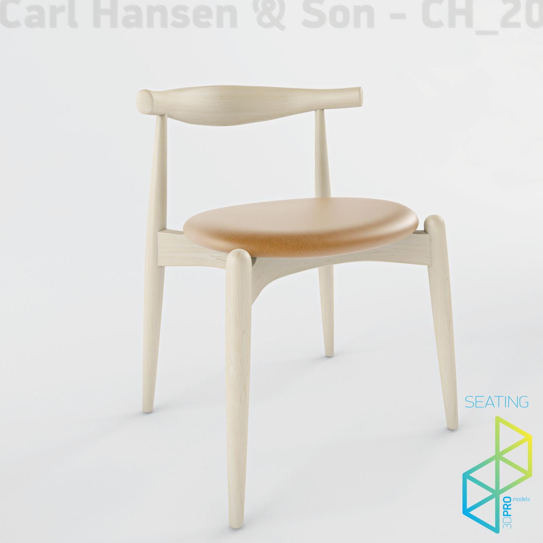 ... Carl Hansen Son Ch20 Elbow Chair 3d Model Max Obj 3ds 2 ...