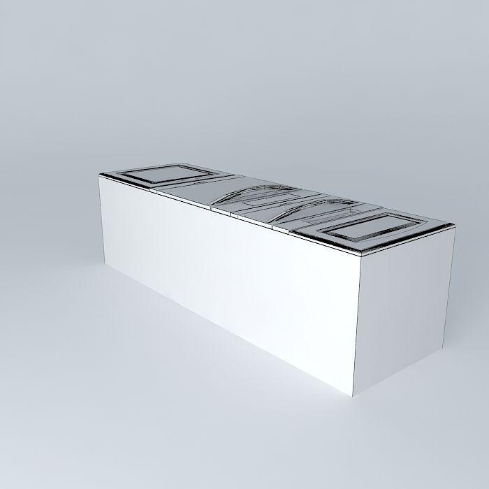 Kitchen Set Royal: Kitchen Red Royal Cabinet With Oven 3D Model MAX OBJ 3DS