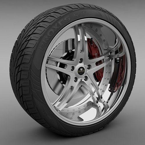 savini forged sv-23s wheel and tire 3d model max obj 3ds lwo lw lws mtl 1