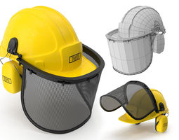 safety helmet with face and ears cover 3d