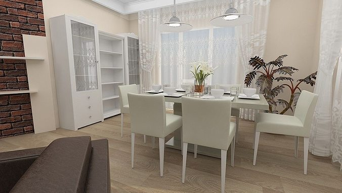 3D Model Animated Dining Living Room