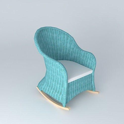 rocking chair blue child ocean maisons du monde 3d model. Black Bedroom Furniture Sets. Home Design Ideas