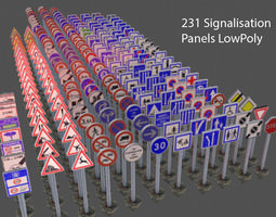 3D model VR / AR ready 231 Road signs