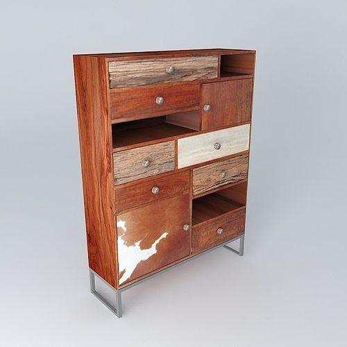 3d cabinet montana maisons du monde cgtrader. Black Bedroom Furniture Sets. Home Design Ideas
