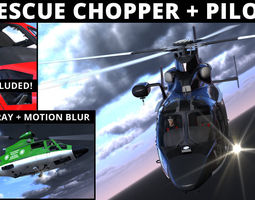 rescue helicopter and pilot 3d model max