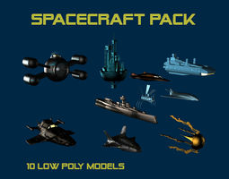 3d asset game-ready 10 low poly spacecrafts