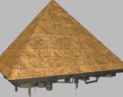 game-ready 3d model giza pyramid spaceship