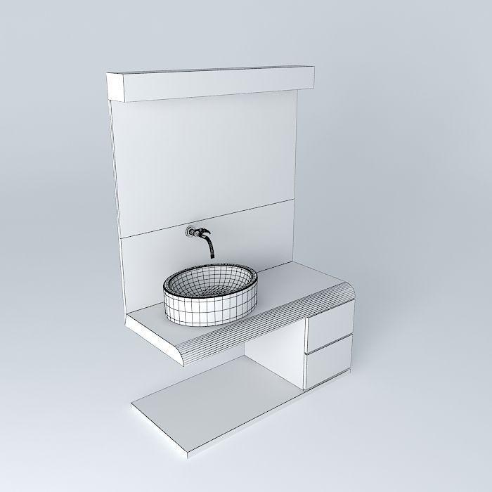 Bathroom countertop with sink bathroom vanity with sink for Sketchup bathroom sink
