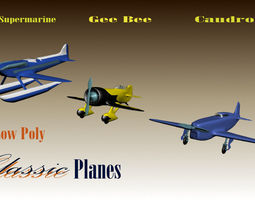 3D 3 Low Poly Classic Planes