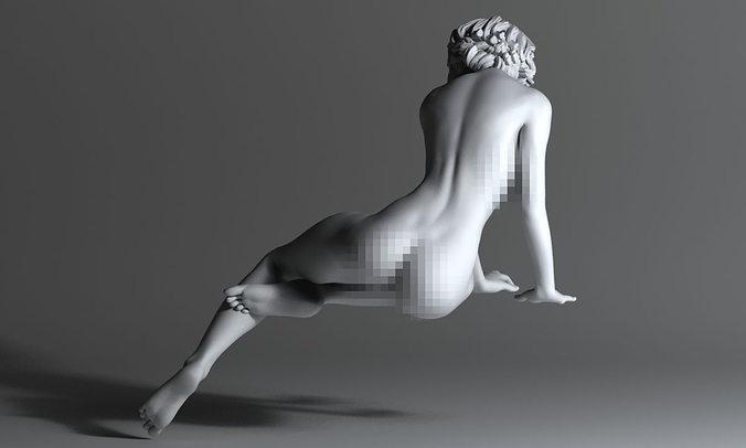 sexy woman with short hair 3d model obj mtl stl 1