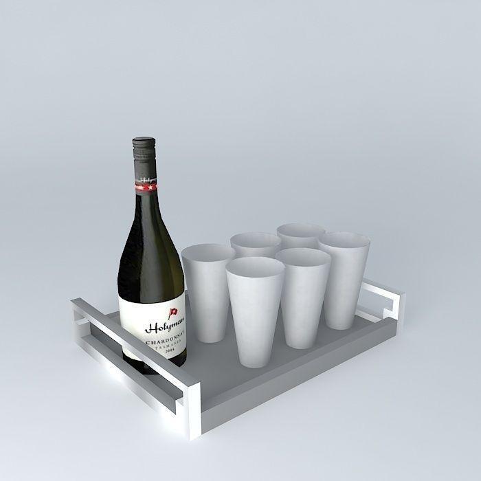 3D garnish bar bottles wine wine tray | CGTrader