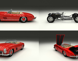 3d fully modelled mercedes 300sl roadster red