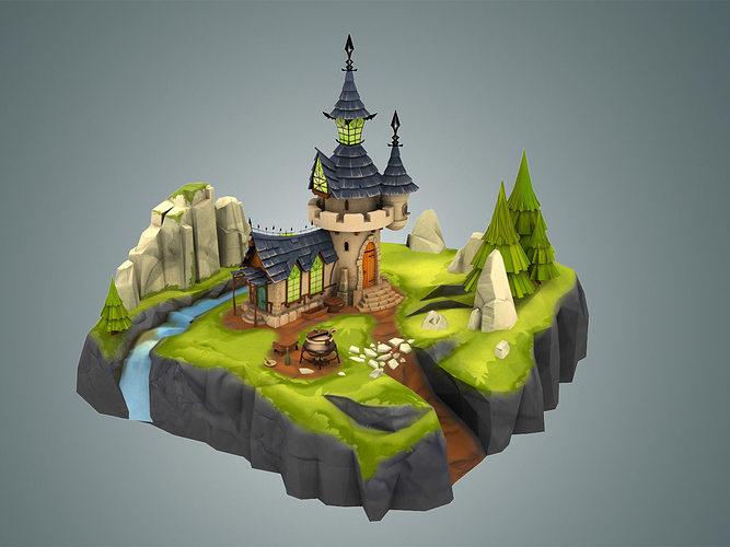 stylized castle environment 3d model low-poly max obj fbx c4d ma mb unitypackage 1