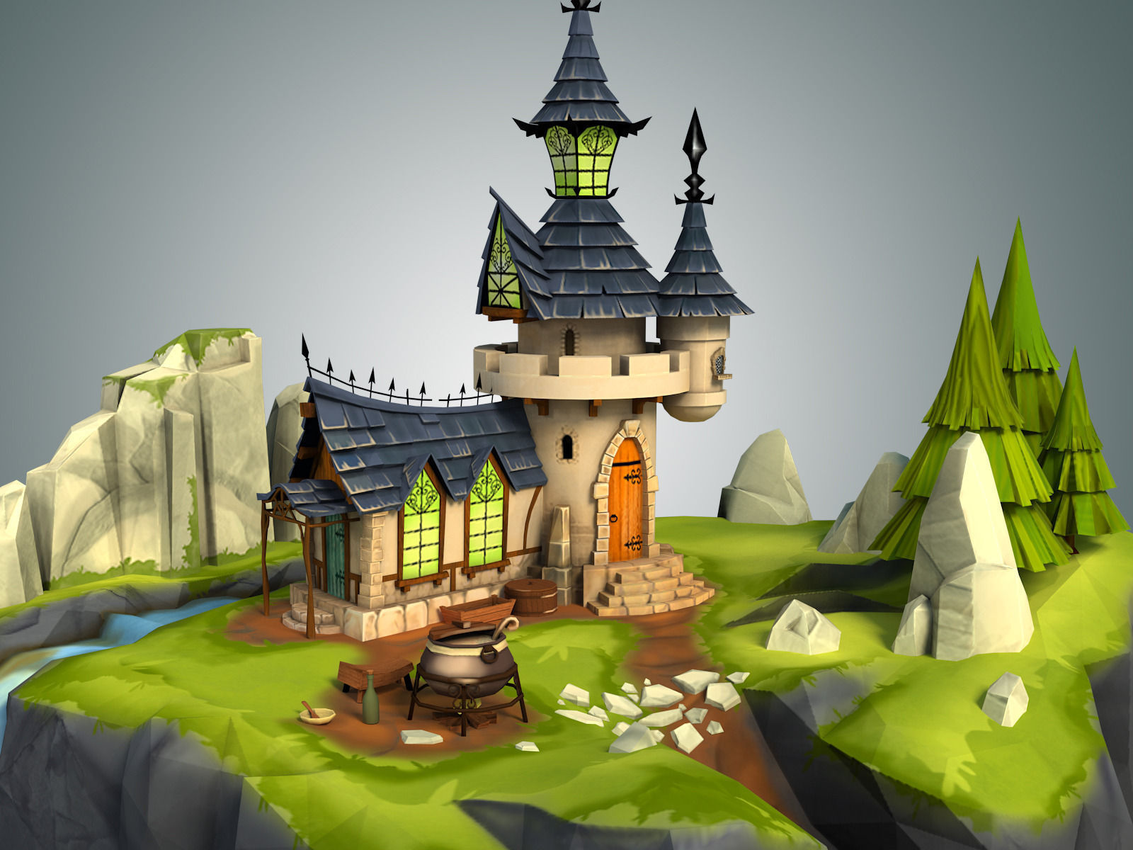 3d model stylized castle environment vr ar low poly for Mobel 3d download