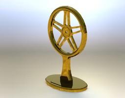 120 dia brass bike wheel trophy 3D model