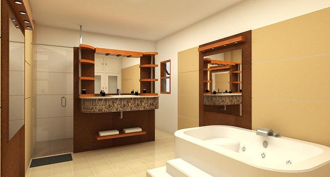 Architecture 48D Bathroom Design CGTrader Interesting 3D Bathroom Designs