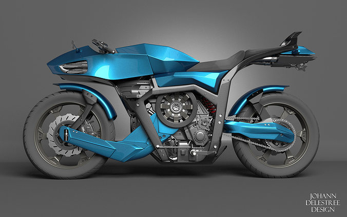 futuristic motorcycle 3d model animated 3ds fbx c4d dae 1