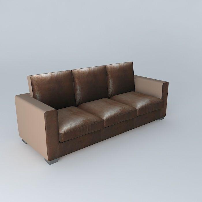 Brown Sofa Kennedy Maisons Du Monde 3d Model Max Obj 3ds