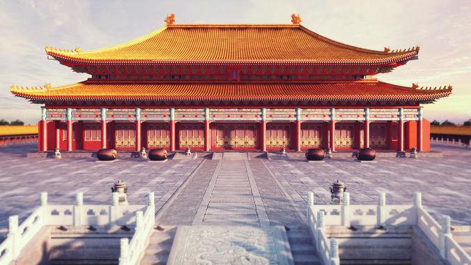forbidden city hall of supreme harmony 3d model low-poly max obj fbx mtl tga 1