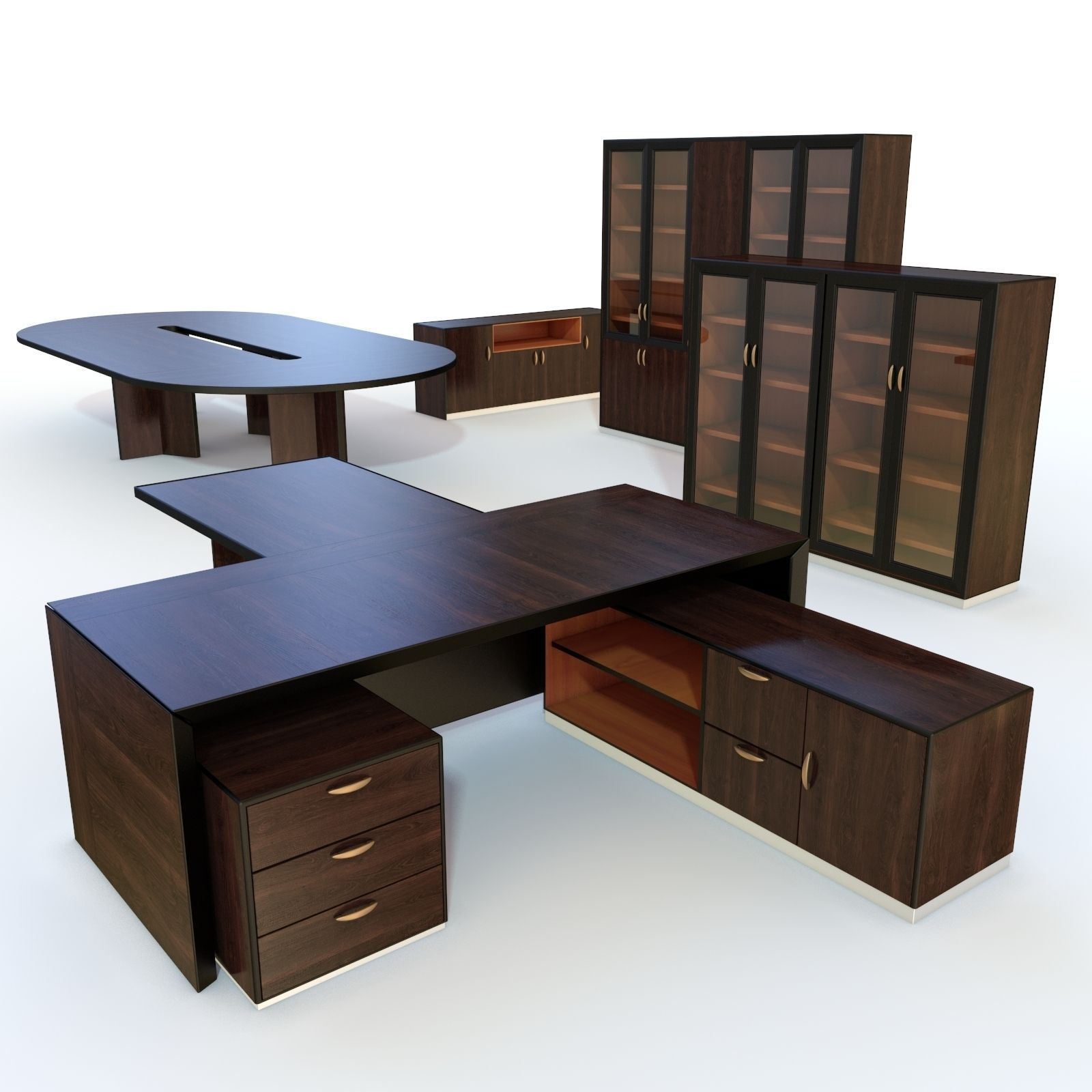 3d Model Office Furniture 3 Vr Ar Low Poly Max Obj 3ds
