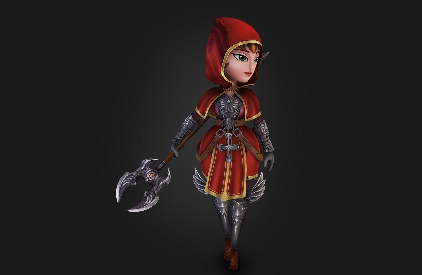 Medieval Chibi Warrior Free Vr Ar Low Poly 3d Model