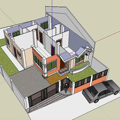 Mediterranean bungalow villa interior divider 3d model skp - Mediterrane mobel ...