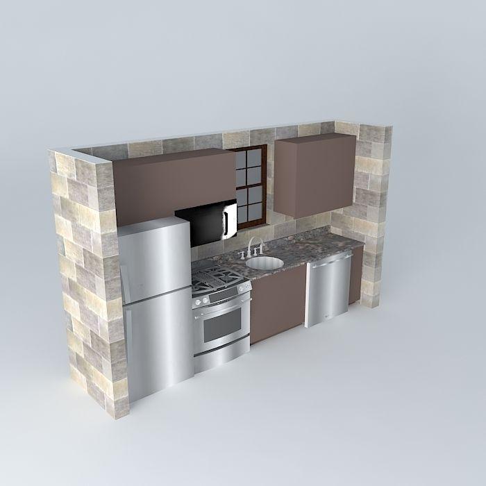 Kitchen Set Sketchup: Small One Wall Kitchen Free 3D Model MAX OBJ 3DS FBX STL